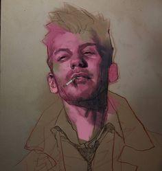 Added a bit of digital colour to Constantine Ben Oliver, Redhead Models, Models Makeup, Art Drawings Sketches, Comic Artist, New Art, Illustrators, Dc Comics, Portrait