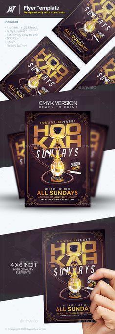 Hookah Days Flyer Template — Photoshop PSD #hookah lounge #kush flyer • Available here → https://graphicriver.net/item/hookah-days-flyer-template/16821871?ref=pxcr