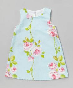 Loving this Light Blue Floral A-Line Dress - Infant, Toddler & Girls on #zulily! #zulilyfinds