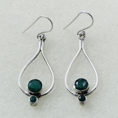 SLEEPING BEAUTY !! EMERALD AGATE STONE NEW DESIGN 925 STERLING SILVER EARRINGS #SilvexImagesIndiaPvtLtd #DropDangle