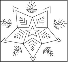 simple design | Printable Simple Rangoli Designs Coloring Pages | Coloring