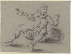 unknown | Zittende jongen met opgeheven armen, unknown, c. 1600 - c. 1699 |