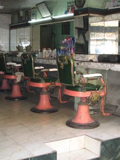 pink barber chairs