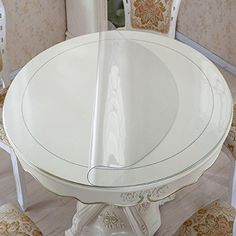 Eco Thick PVC Round Table Protector Clear Plastic Round Tablecloth - 60 inch round table protector pad