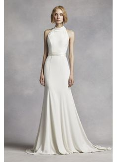 White by Vera Wang High Neck Halter Wedding Dress VW351263  LOVE THIS. Obsessed with any back detail. Perfect cut for my hips!