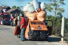 Heavily overloaded Peugeot in Madagascar