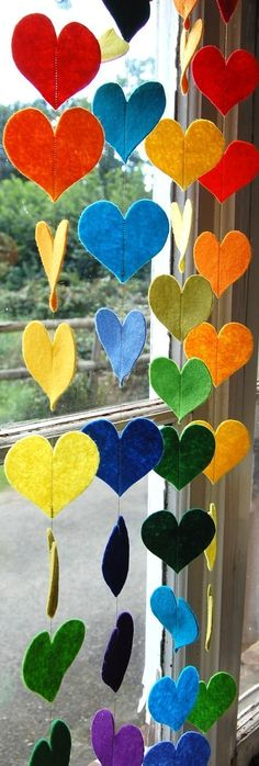 Hanging Rainbow Hearts A Colorful Felt by therainbowroom on Etsy