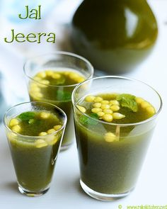 "Jal jeera is an Indian drink made with mint, coriander leaves, lemon and tamarind as main ingredients, along with some spices. is a popular summer drink in India. It is sometimes served as an appetizer, as it is intended to ""startle"" the taste buds Fruit Smoothie Recipes, Fruit Drinks, Healthy Drinks, Beverages, Drink Recipes, Spicy Drinks, Healthy Juices, Juice Recipes, Dog Recipes"