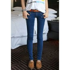 $9.92 Casual Low-Rise Basic Style Solid Color Good Quality Skinny Denim Women's Jeans