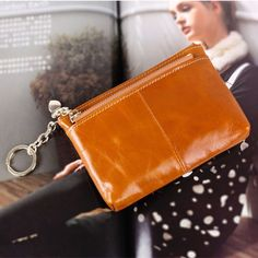 Women'S Genuine Leather Triple Zipper Mini Coin Purse Card Holder With Key Chain
