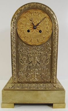 Eaarly 1800s French Empire Arched Bronze 8 day bell mantle clock