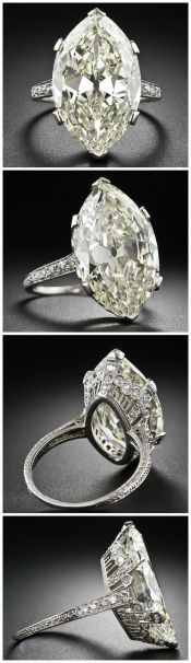 "Antique engagement ring centering a faint yellow 9.55 carat ""moval"" diamond. Love, love the Edwardian setting!"