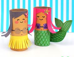 MollyMooCrafts Toilet Roll Crafts: Hula Girl and Mermaid Diy Paper Crafts diy crafts out of toilet paper rolls Kids Crafts, Summer Crafts For Kids, Crafts For Kids To Make, Crafts For Girls, Arts And Crafts, Kids Fun, Creative Crafts, Kids Girls, Creative Activities