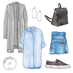 Good objects - Getting ready for the week… @acnestudios Long cardigan, @mihjeans oversized shirt, @aurorehavenne earrings, @karastore black backpack, @_damen_ jeans, @ar_superga sneakers #goodobjects #illustration