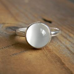 Moonstone and Sterling Ring with Recylced Silver by onegarnetgirl, $138.00