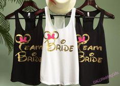 Disney Bride Tank, Disney Team Bride Tanks, Disney Bachelorette Party Tanks, Bachelorette Shirts, Bridesmaid Shirts, Mouse ears with bow by ALLWeddingGifts on Etsy