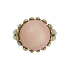 Vintage 18K Gold Angel Skin Coral Modernist Ring, c. 1960s. $875