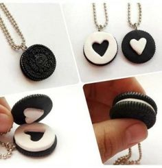 Schlüsselanhänger oreo bff present Geschenkidee Best friend heart necklace as symbol of the relationship can't be described by words, and the closest thing you can get from having this kind of relationship described in words, is through the necklace. Bff Necklaces, Best Friend Necklaces, Friendship Necklaces, Best Friend Jewelry, Cute Couple Necklaces, Bestfriend Necklaces For 2, Necklace Ideas, Diamond Necklaces, Cute Polymer Clay