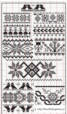 Fair Isle Patterns Plus Cross Stitch Borders, Cross Stitching, Cross Stitch Embroidery, Cross Stitch Patterns, Knitting Charts, Knitting Stitches, Knitting Patterns, Mochila Crochet, Fair Isle Chart