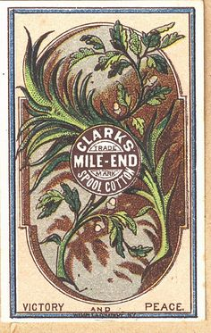 Cards 17 Clarks Mile End Thread Victorian Botanical Trade Card