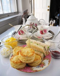 Scones and finger sandwiches for tea time.