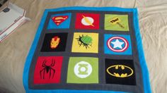 Custom Made Superhero Super Hero Comic Fleece Applique Crib - Lap - Twin - Full - Queen Size Quilt Blanket on Etsy, $70.00
