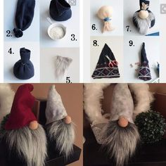 Ever since a visit to Denmark I really liked the Scandinavian Christmas gnomes (or tomte, nisse.Scandinavian Tomte Ollie Nordic Nisse by DaVinciDollDesignsDIY Gnome made from a pair of socksMake an elf: easy instructions and original ideas for last-m Christmas Gnome, Diy Christmas Ornaments, Christmas Projects, Handmade Christmas, Christmas Decorations, Gnome Ornaments, Outdoor Christmas, Christmas Ideas, Theme Noel