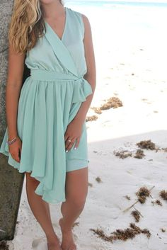 Messaria Seafoam Handkerchief Wrap Dress #Mermaid Hair: Very texturized, messy beach-y waves and mix match braids throughout in a center messy ponytail Accessories: Gold and Silver body tattoos! Shoes: Unforgettable Nights #ALligator Strappy Nude Heels
