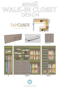 small walk-in closet design // EasyClosets // Simplified Bee design de closet pequeno // EasyClosets // Abelha simplificada Walk In Closet Small, Walk In Closet Design, Small Closets, Dream Closets, Closet Designs, Wardrobe Design, Closet Storage, Closet Organization, Organization Ideas
