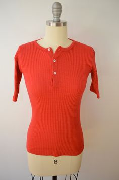 Vintage Sears PUT ON SHOP girls womens stretchy 3 button shirt 1960's 70's red 1/2 sleeves by ilovevintagestuff on Etsy