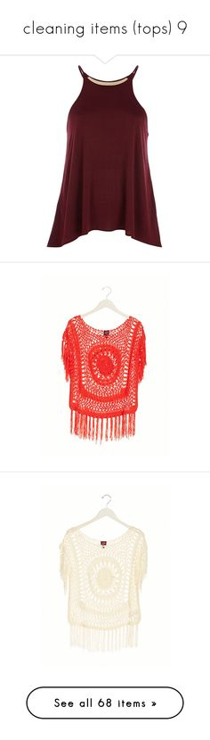 """""""cleaning items (tops) 9"""" by dancer11forever ❤ liked on Polyvore featuring crop, tops, tanks, tank tops, shirts, blusa, sale, red top, red tank top and red spaghetti strap tank top"""