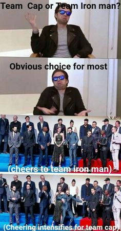 I'm team captain America all the way. I have friends who hate me now because of this but it's fine. They can go about their lives knowing they are wrong. Marvel Actors, Marvel Memes, Marvel Dc Comics, Marvel Avengers, Avengers Cast, Team Captain America, Film Serie, Sebastian Stan, Tony Stark