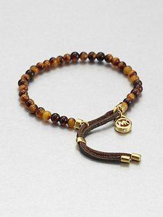 Michael Kors - Tortoise-Print Beaded Bracelet - Saks.com