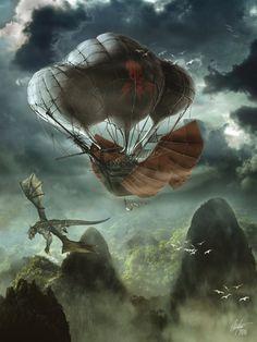 Air pirates over Dragonspire. Illustration by Colin Foss, http://alegion.deviantart.com/art/Air-Pirates-Over-Dragonspine-153193748