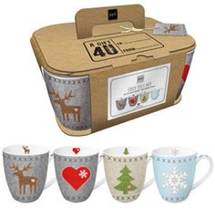 Mugs Felt Mix Set of 4 - PPD : Set of 4 decorated mugs l, height: cm, Ø 9 cm) with different designs made of fine magnesium porcelain in a decorative cardboard gift box with