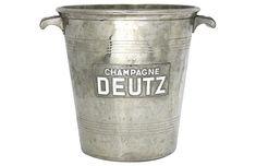 French Deutz Champagne bucket with enameled logo. Maker's mark on underside. Champagne Deutz, French Antiques, Vintage Antiques, Champagne Buckets, Decorative Objects, Cottage Style, Makers Mark, French Vintage, Enamel