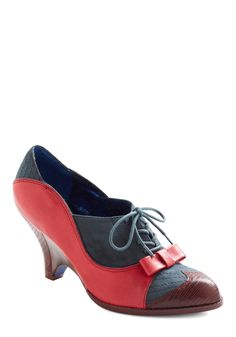 Turnstile Maven Heel by Poetic License - Wedge, Red, Blue, Color Block, Bows, Work, Vintage Inspired, 30s, 40s, Fall