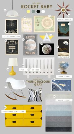 Baby Boy Nursery Room İdeas 277815870733579599 - With this much great stuff going on in this nursery, who needs a crib bumper? Love the Eames rocker and the pops of yellow. Outer Space Nursery, Space Themed Nursery, Nursery Themes, Room Themes, Nursery Room, Nursery Decor, Nursery Ideas, Room Ideas, Themed Rooms