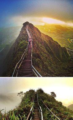 """Haiku Stairs auf Hawaii Ob Led Zeppelin bei ihrem Hit """"Stairway to Heaven"""" an die schier endlosen Stufen der Haiku Stairs auf der hawaiiansichen Insel Oahu gedacht haben? Möglich wäre es! Die 3.922 Stufen ragen schier in den Himmel und verschwinden sogar teilweise im Nebel. Ursprünglich wurden sie installiert um Antennenkabel von der einen auf die andere Seite der Klippe zu bringen. Heute ist es ein beliebter, aber auch gefährlicher, Trekking Trail. www.itravel.de/yolo.html"""