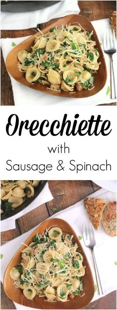 Super quick, easy Italian comfort food! This Orecchiette with Sausage and Spinach (from culinary star Kristin Sollenne) is packed with nutrition and fantastic flavor! ~ www.TwoHealthyKitchens.com