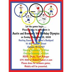 Olympic Party- invite