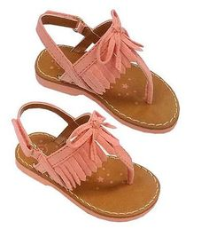 Koala Kids Girls Peach Hard Sole Fringed Sandals - Infant/Toddler