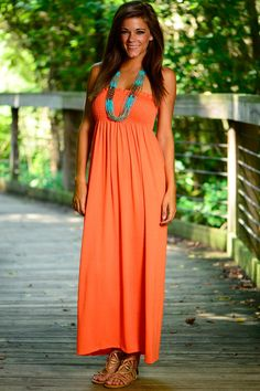 """""""Smocked And Simple Maxi, Orange"""" mint julep boutique"""