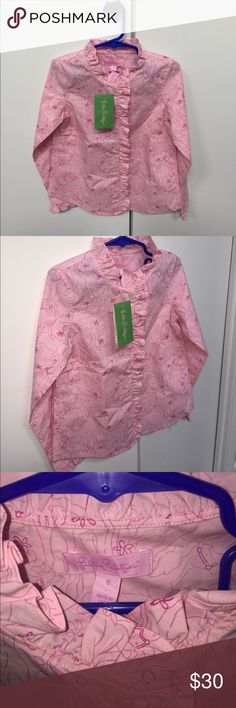 Pink Bennet Poplin long sleeve shirt w/ horses 6 Brand New with tags long sleeve pink button up girls shirt. Design has horses on it. Size 6 Lilly Pulitzer Shirts & Tops Button Down Shirts
