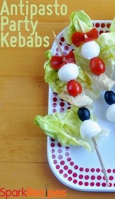 What a fun appetizer to bring to your next BBQ! These antipasto party kebabs are sure to put a smile on guests' faces! Your kids will enjoy making them as well! Kabob Recipes, Appetizer Recipes, Italian Appetizers, Clean Eating Snacks, Healthy Snacks, Healthy Recipes, Antipasto Kabobs, Love Eat, Recipe Details