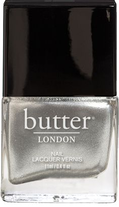 Butter London Diamond Geezer.A proper platinum nail lacquer, silvery and shiny. It's finger-bling that sparkles like the real thing, but doesn't cost it!