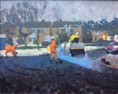 landscape by James Bland. I love the light blue steam next to the orange of the worker's uniform. Snow Artist, Self Portrait Artists, Original Paintings For Sale, Artists For Kids, Holiday Photos, Art Club, Photomontage, Cool Artwork, Oil On Canvas