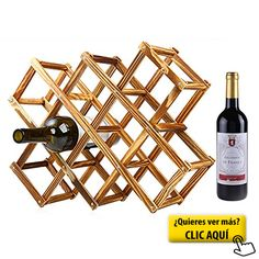 Tinksky Plegable Botellero de Madera para 6 Botellas Armarios de Vino Fabricación de cerveza y vino Madera Color Hogar y cocina