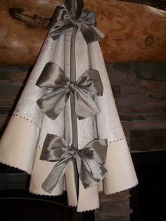"""56"""" Anthropologie Inspired  Shimmering White Paisley and Silver Christmas Tree Skirt 2012 Collection READY TO SHIP. $175.00, via Etsy."""