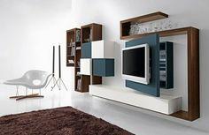 meuble suspendu de salon, unités colorées suspendues, rangement esthétique et créatif, un tapis marron